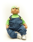 Полукомбинезон из джинсовой ткани - На кукле. Одежда для кукол, пупсов и мягких игрушек.