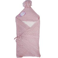 Папитто. Конверт-одеяло вязаный полушерстяной с подкладкой велсофт, розовый