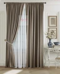 Комплект штор Луи (коричневый). Шторы из стриженного бархата.