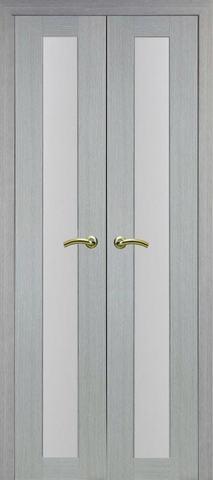 Дверь Optima Porte Турин 501.2 (двустворчатая), стекло матовое, цвет дуб серый, остекленная
