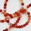Бусина Агат (тониров), шарик, цвет - красно-оранжевый с полосками, 4 мм, нить