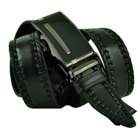 Ремень мужской брючный чёрный из качественной натуральной кожи 35 мм с автоматической пряжкой 35Millenium-A-178