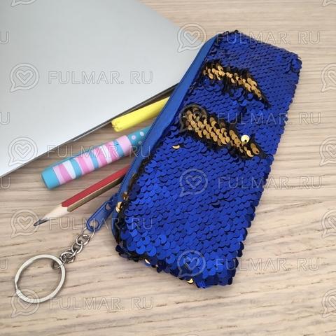 Пенал с пайетками мини для девочек меняет цвет Сине-Золотистый