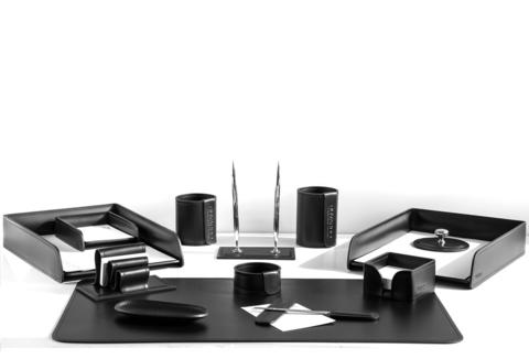 Настольный набор 13 предметов из кожи цвет черный №27