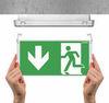 Монтаж эвакуационного табло к аварийному светодиодному светильнику выход EXIT L