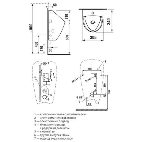 Сенсорный писсуар Jika Golem Sensor Antivandal 4307.0.000.483.1 схема