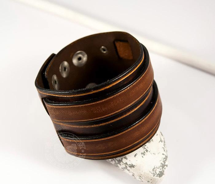 BL447-2 Широкий мужской браслет напульсник из натуральной кожи
