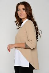 Модная блузка для современной особы. Отличный деловой вариант. Рукав 3/4, ворот на стойке. По спинке застежка на крючке. (Длина: 44-65см; 46-67см; 48-68см; 50-69см)