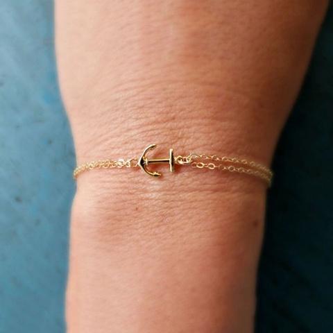 Тонкий браслет с якорем (золотой)