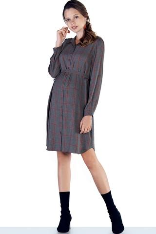 Платье 09830 серый/ оранжевый