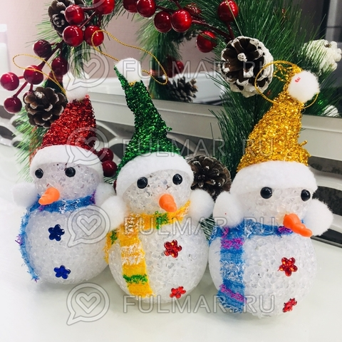 Снеговик светящийся мигающий игрушка новогодняя (набор 3 штуки)
