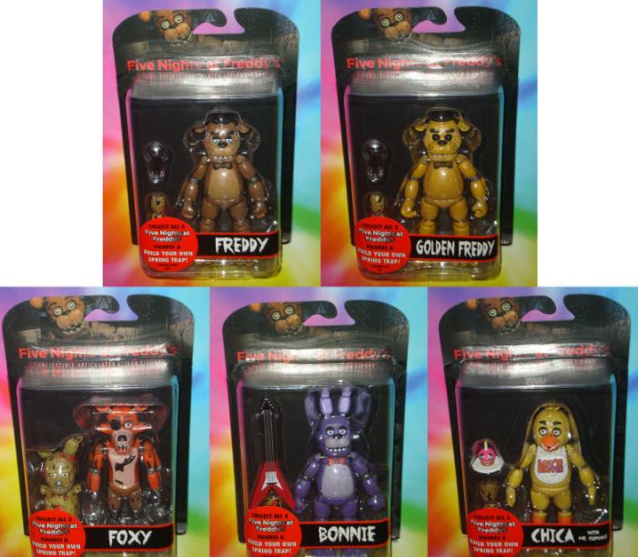 Набор из 6 оригинальных фигурок, 15 см. Бонни, Чика, Фредди, Голден Фредди, Фокси + бонусный Спрингтрап