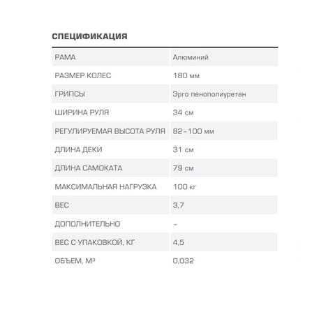 самокат Blade Sport Spark 180 характеристики