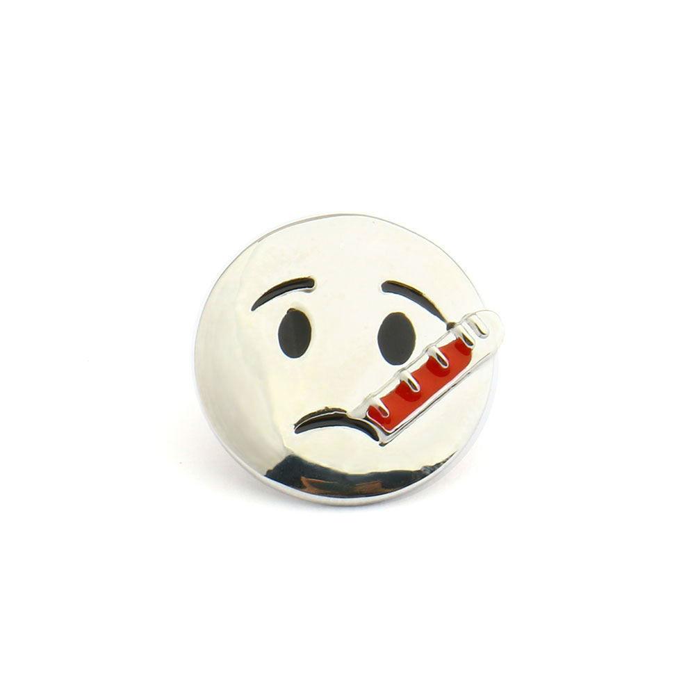 Брошь Больной смайлик (серебряный цвет)