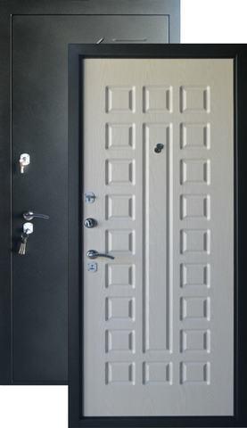 Дверь входная Форт  Б-32, 2 замка, 1,2 мм  металл, (чёрный шёлк+беленый дуб)