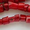 Бусина Коралл (тониров), цвет - красный, 6-15 мм, нить