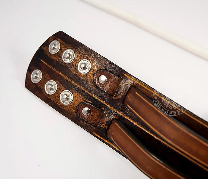 BL447-2 Широкий мужской браслет напульсник из натуральной кожи фото 04