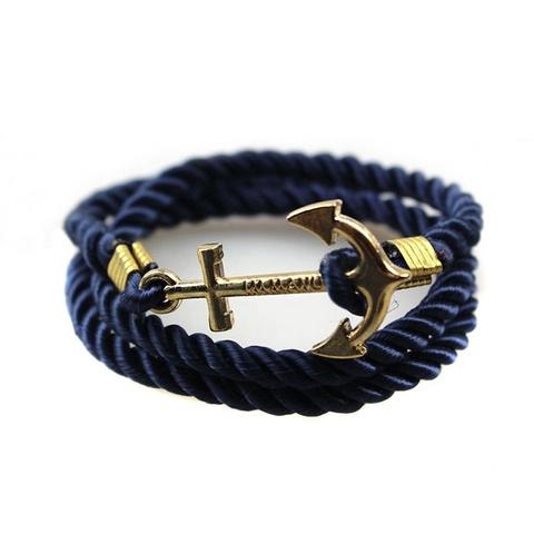 Темно-синий браслет с золотым якорем