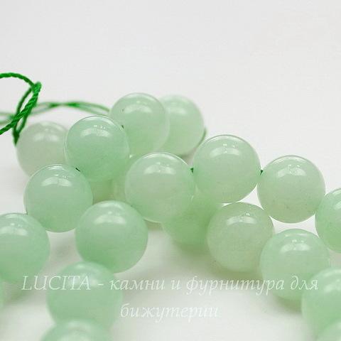 Бусина Жадеит (тониров), шарик, цвет - бледно-зеленый, 10 мм, нить