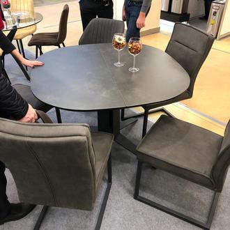Стол круглый раскладной с керамическим покрытием ILLINOIS 110 SPANISH CERAMIC DARK GREY серый матовый 110 (+40) х 110 см.