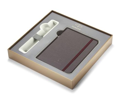 Набор с гравировкой: Фирменный блокнот и Шариковая ручка Parker Jotter Luxe K177, West End Brushed GT123