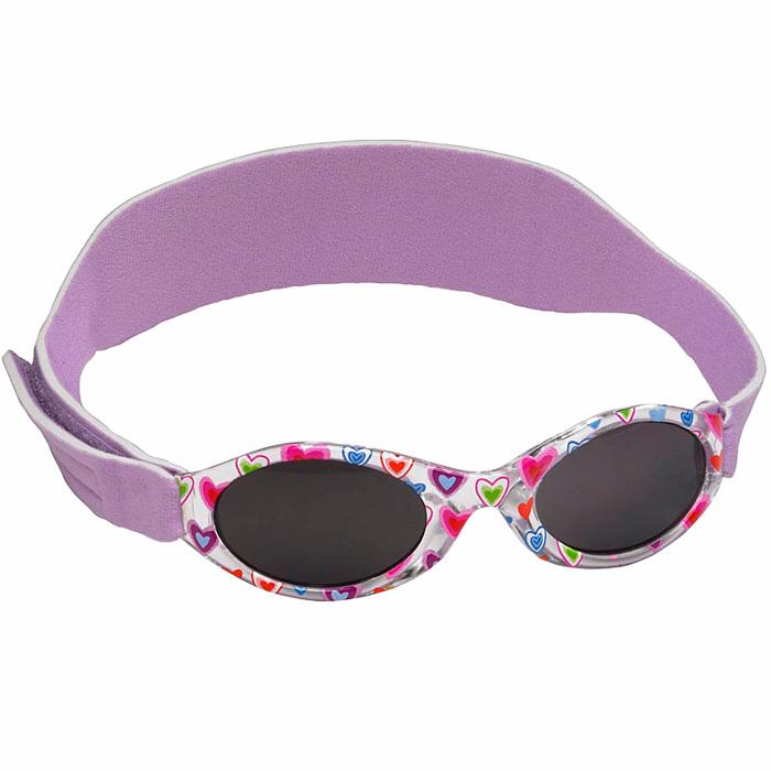 1744bd1ef1ba Солнцезащитные очки для малышей Real Kids Shades 0+ (на ремешке) фиолетовые  с сердечками