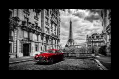 """Постер """"Красный авто в Париже"""""""