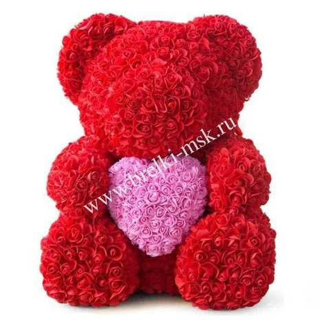 Красный мишка из 3D роз с сердцем 40 см.