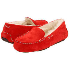 Женские мокасины UGG Moccasins Ansley for Women Red (с мехом)