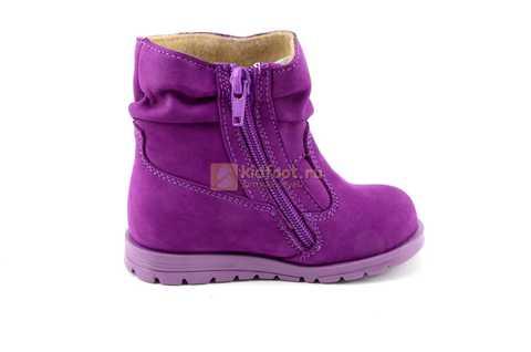Полусапожки демисезонные Тотто из натуральной кожи на байке для девочек, цвет фиолетовый. Изображение 4 из 13.
