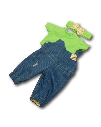 Полукомбинезон из джинсовой ткани - Зеленый. Одежда для кукол, пупсов и мягких игрушек.