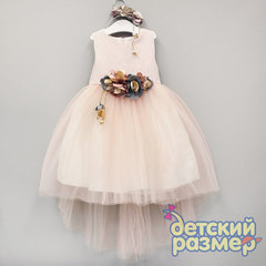 Платье (объёмные цветы + ободок)