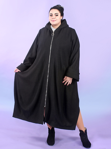 Утепленное пальто из варёной шерсти