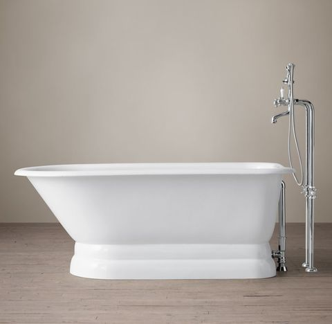 Classic Victorian Skirted Base Soaking Tub with Cross-Handle Tub Fill