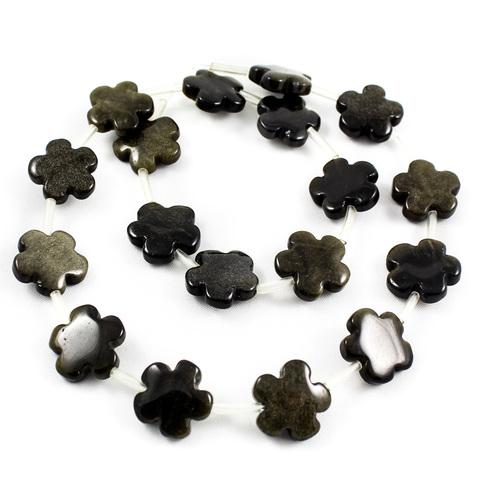 Бусины обсидиан черный золотистый Цветочек 15 мм 1 бусина