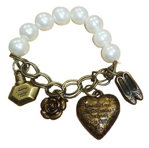 Винтажный браслет с жемчугом и сердечком