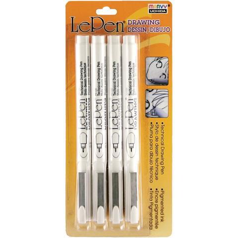 Набор пигментированных чернильных ручек Le Pen Technical Drawing Set -Black- 4шт