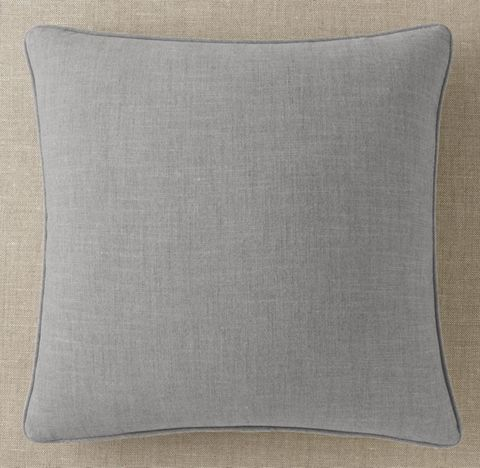 Custom Perennials® Classic Linen Weave Piped Square Pillow Cover