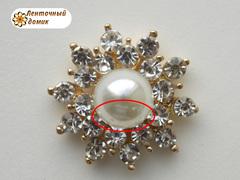 Стразовая золотая звезда с большой жемчужиной (уценка).