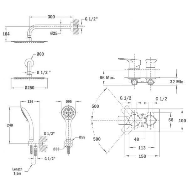 Душевой комплект 250 мм Teka 841720220