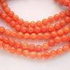 Бусина Жадеит (тониров), шарик, цвет - морковный, 10 мм, нить