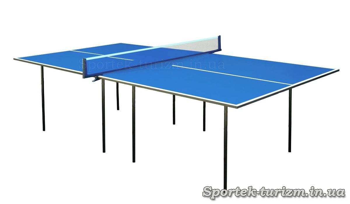 Простой синий теннисный стол для помещений