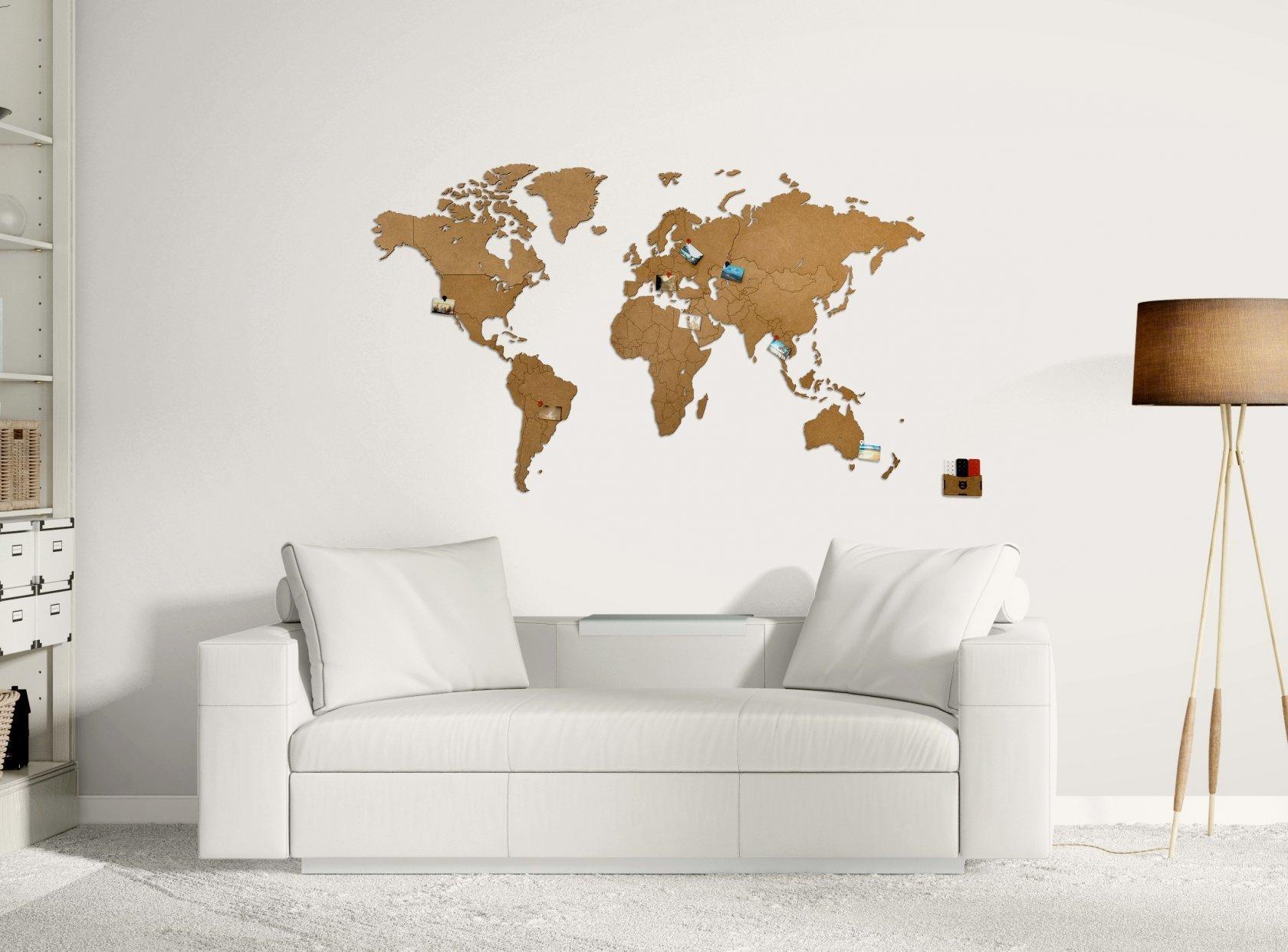"Карта мира ""Wall Decoration Brown"", 180*108 cм - 2"