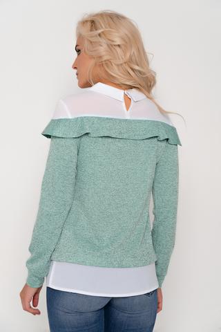 Современная блузка пастельных тонов. Сочетание двух тканей придаст изюминку Вашему образу. Рукав длинный на манжете.Длина изделия/рукава-44-50=63см./59см.