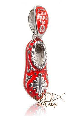 Чудо святителя Спиридона стоптанный тапочек. Красная эмаль. Подвеска