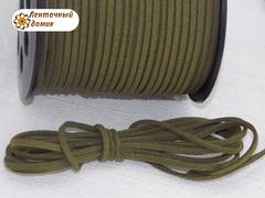 Шнур замшевый плоский оливковый 3*1,5 мм