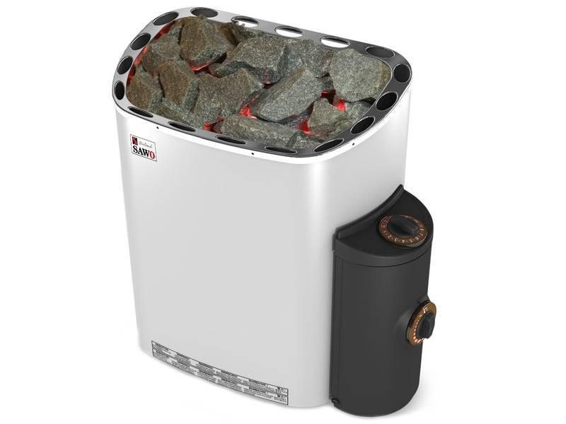 Серия Scandia: Электрическая печь SAWO SCANDIA SCA-90NB-Z (9 кВт, встроенный пульт, внутри оцинковка, снаружи нержавейка)