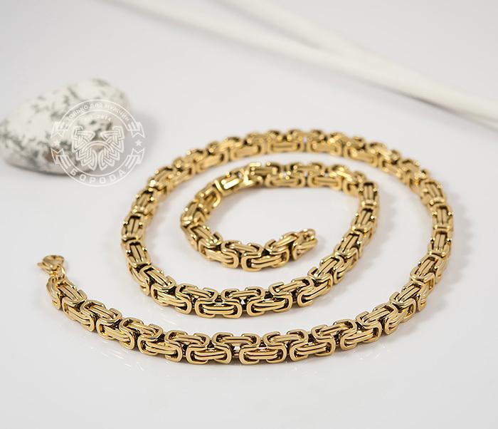 PM176 Красивая мужская цепь из стали квадратного сечения золотого цвета (55 см)