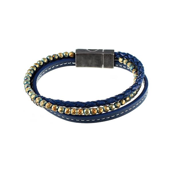 Браслет мужской золотисто-синий 3в1 из кожи и камня JV TOE-587-60183