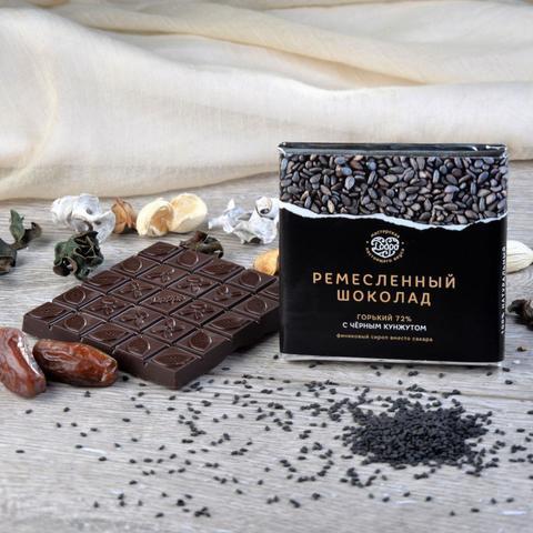 Шоколад горький, 72% какао, на финиковом пекмезе, с чёрным кунжутом